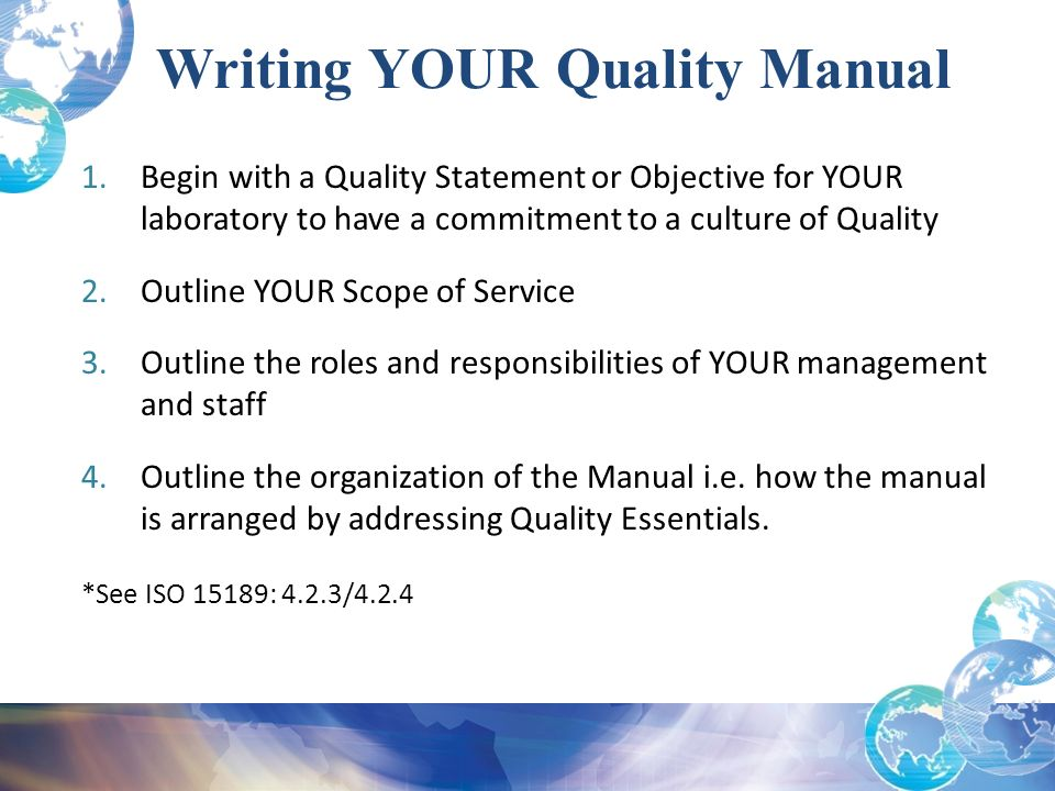 Writing a short Quality Manual