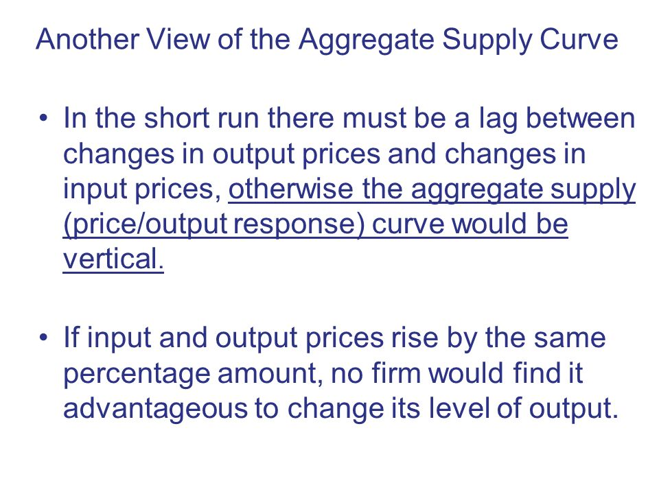 Another View of the Aggregate Supply Curve