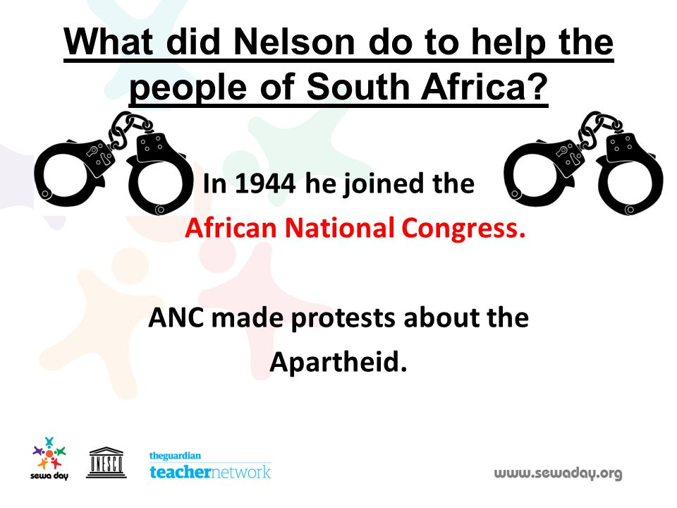 What did Nelson do to help the people of South Africa