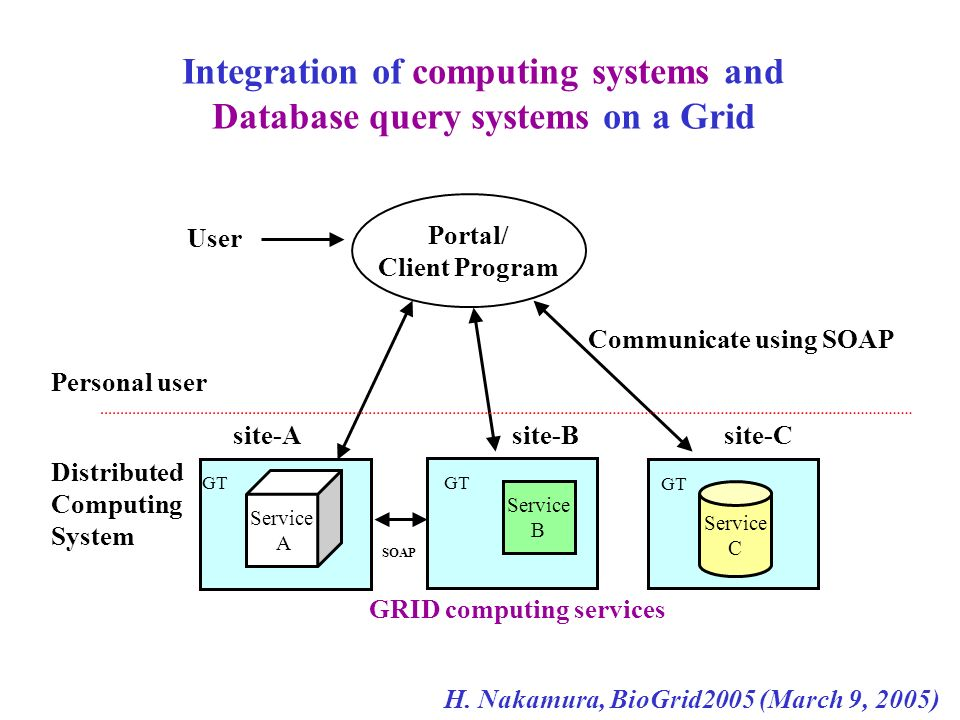 Integration of computing systems and Database query systems on a Grid