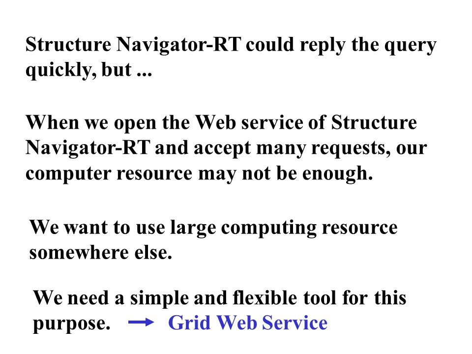 Structure Navigator-RT could reply the query quickly, but ...