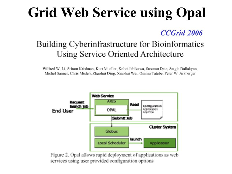 Grid Web Service using Opal