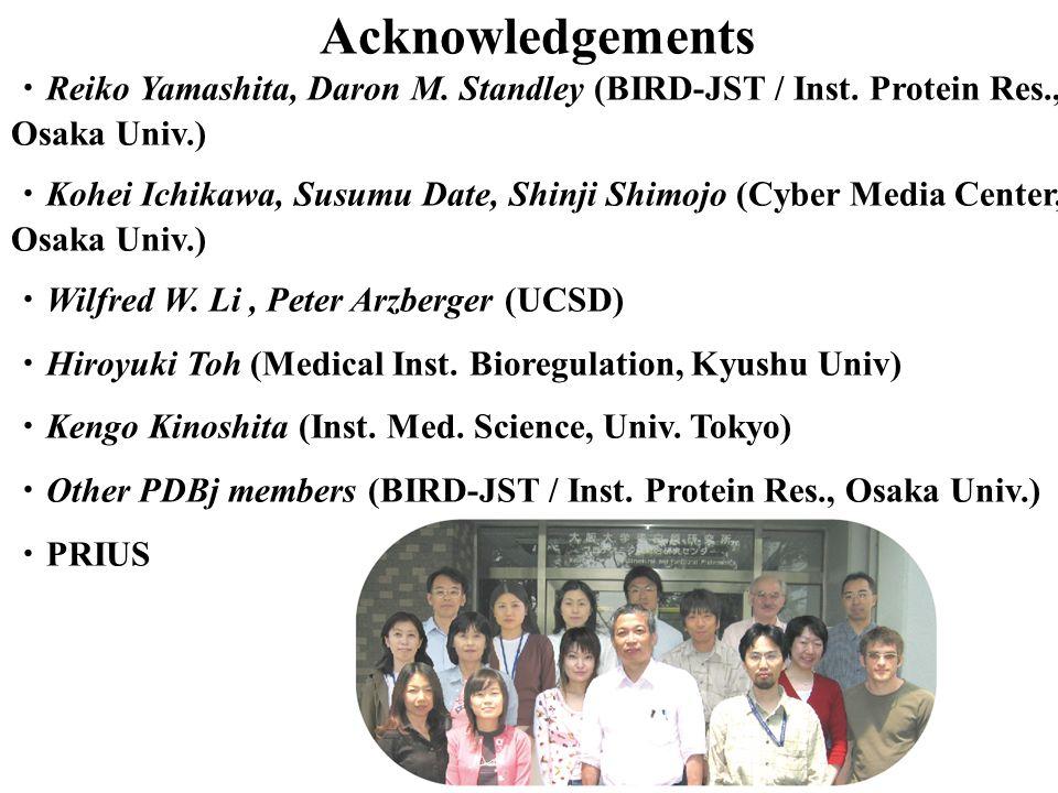 Acknowledgements ・Reiko Yamashita, Daron M. Standley (BIRD-JST / Inst. Protein Res., Osaka Univ.)