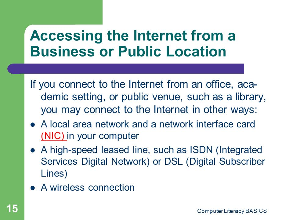 Accessing the Internet from a Business or Public Location