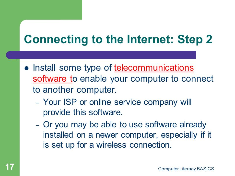 Connecting to the Internet: Step 2
