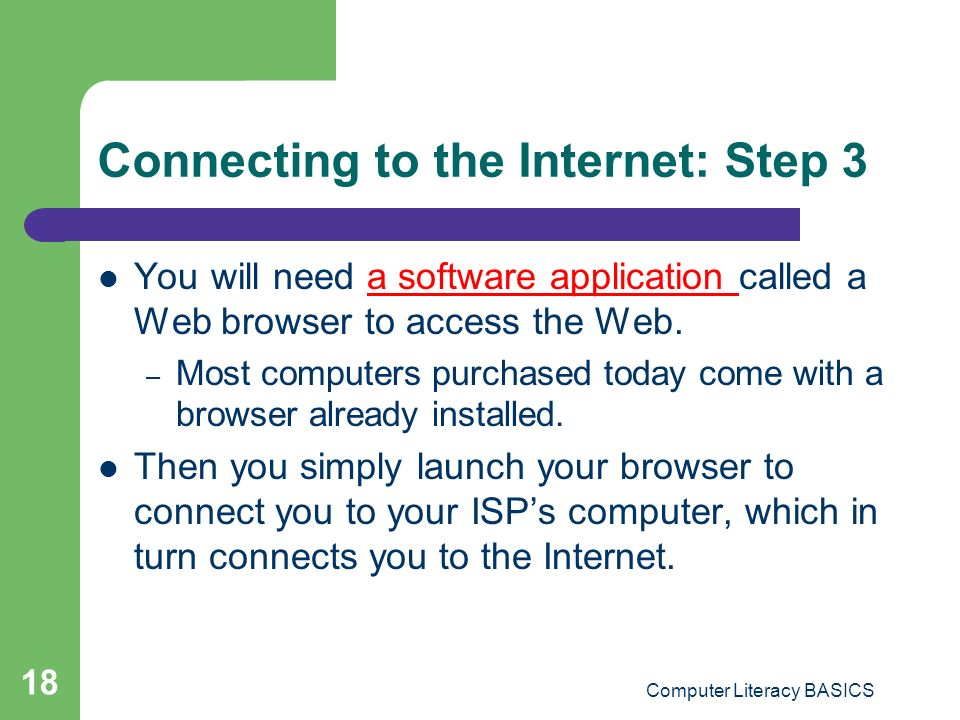 Connecting to the Internet: Step 3