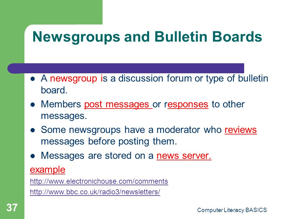 Newsgroups and Bulletin Boards