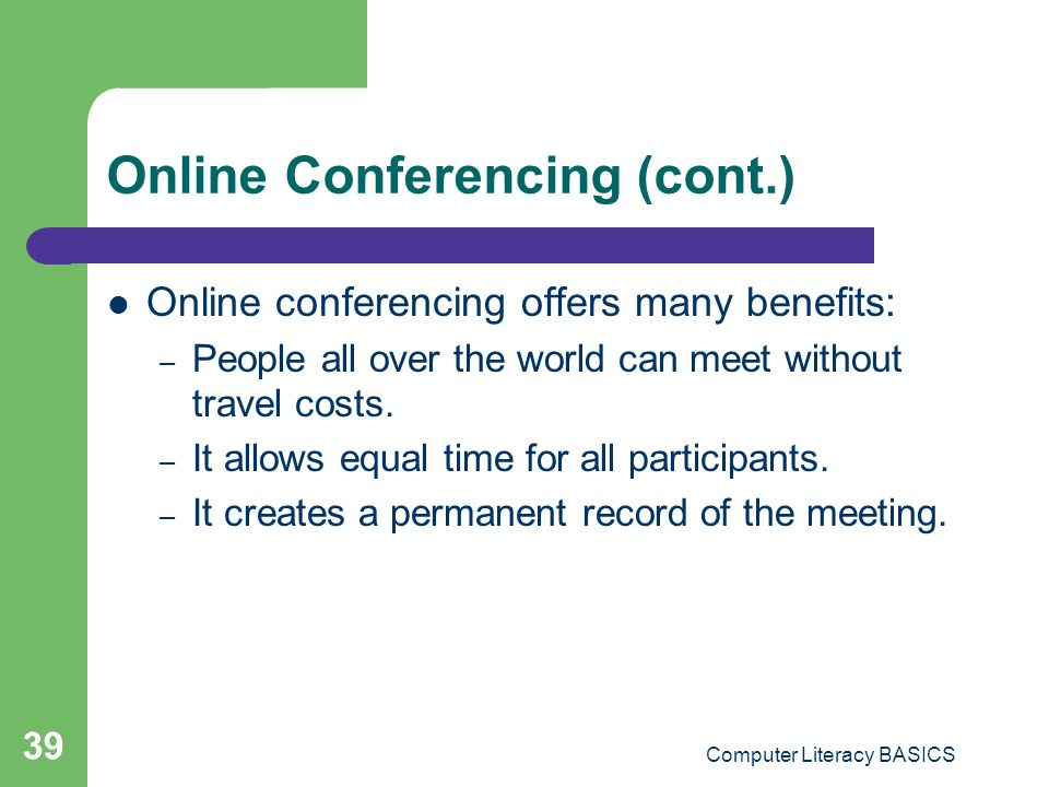 Online Conferencing (cont.)