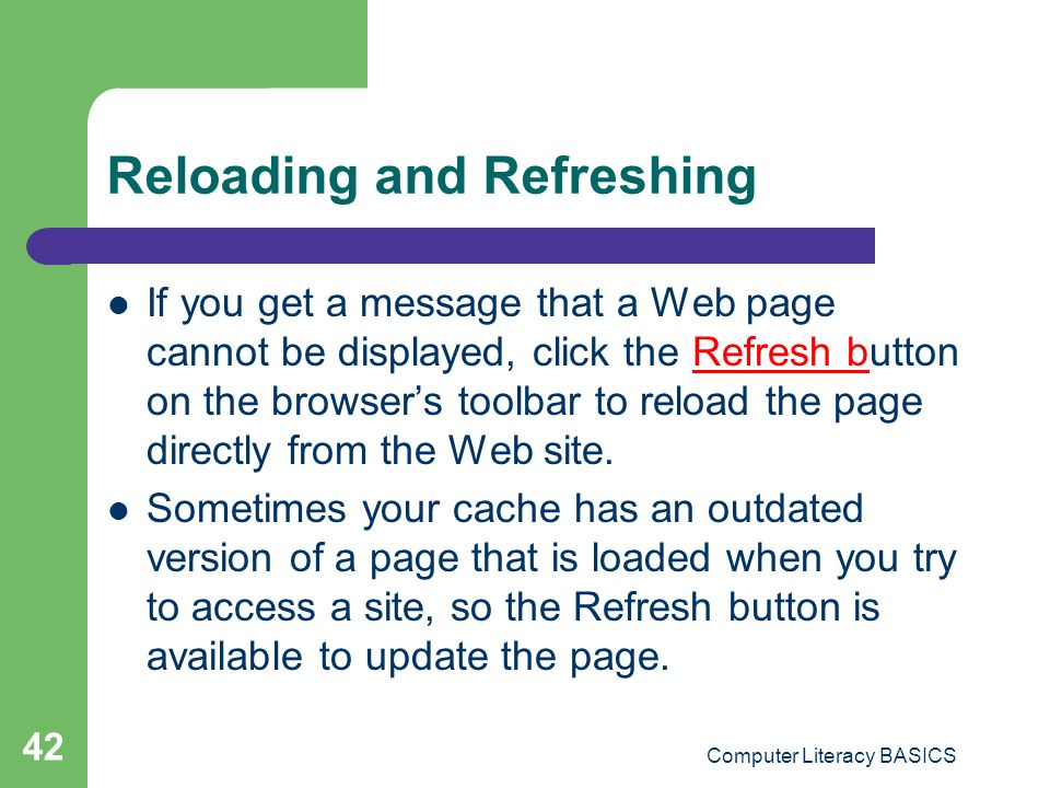 Reloading and Refreshing