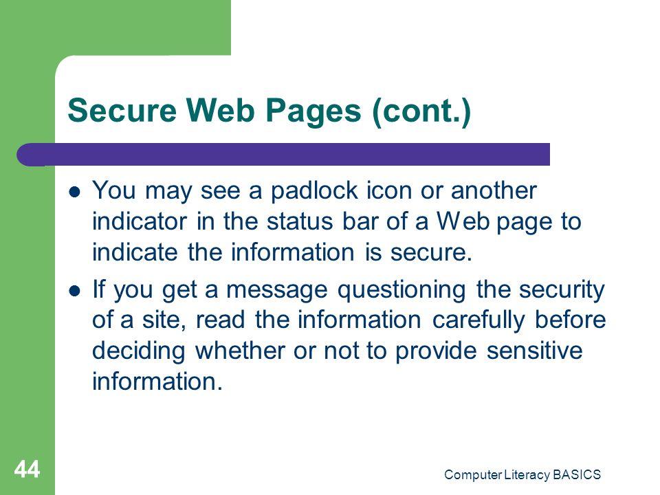 Secure Web Pages (cont.)