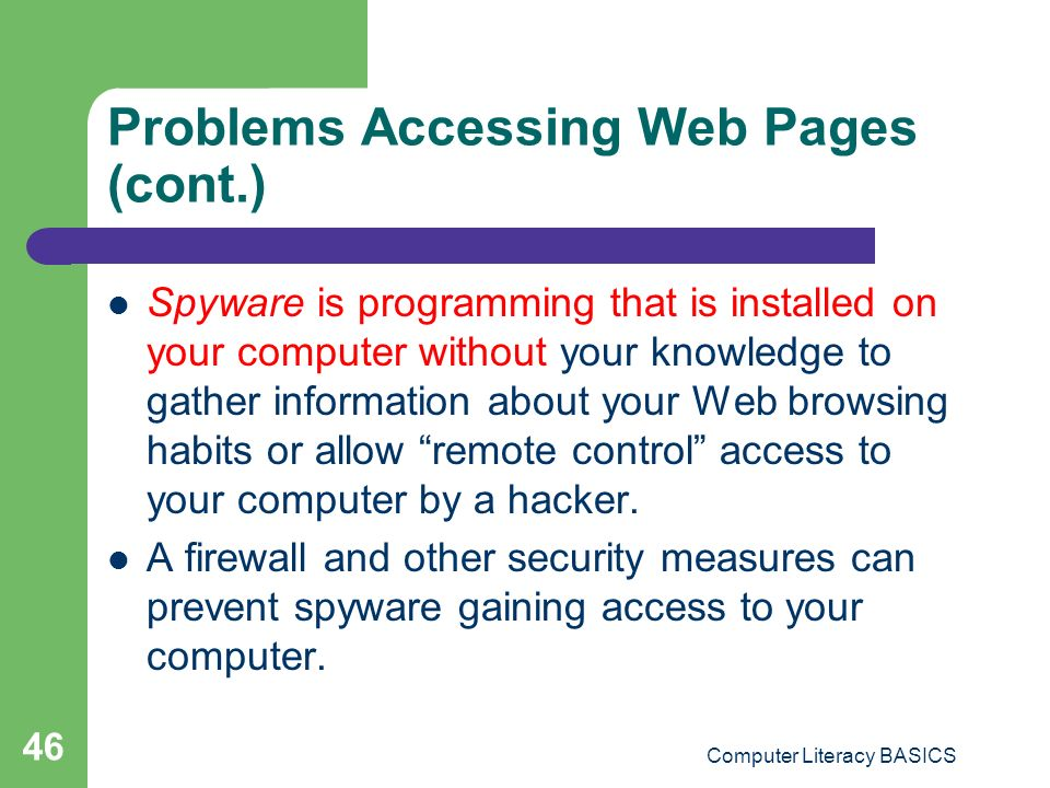 Problems Accessing Web Pages (cont.)