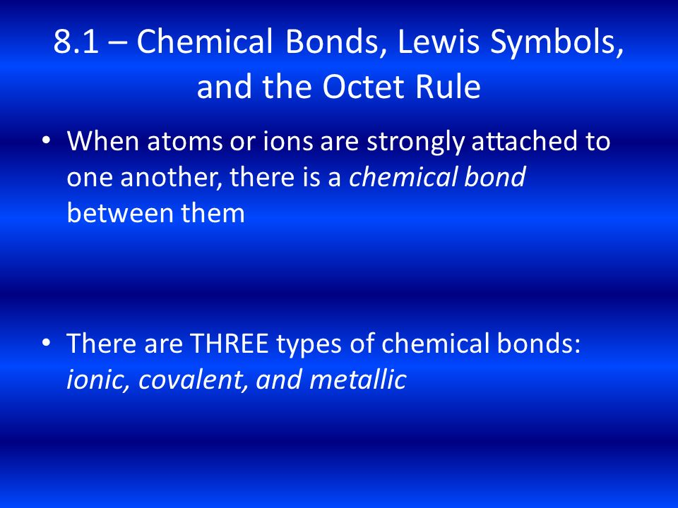 8.1 – Chemical Bonds, Lewis Symbols, and the Octet Rule