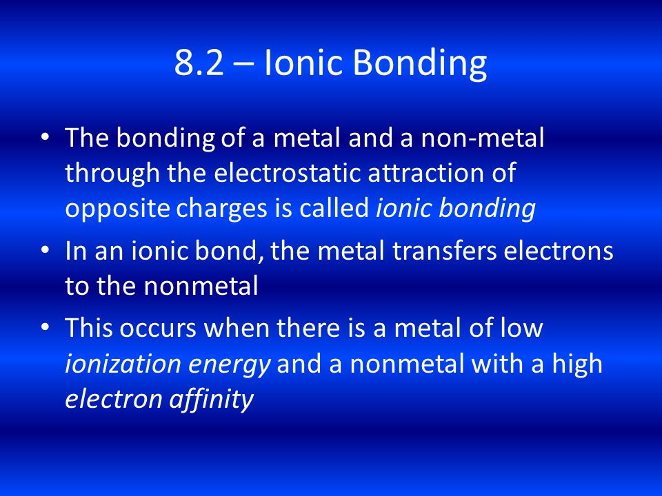 8.2 – Ionic Bonding The bonding of a metal and a non-metal through the electrostatic attraction of opposite charges is called ionic bonding.