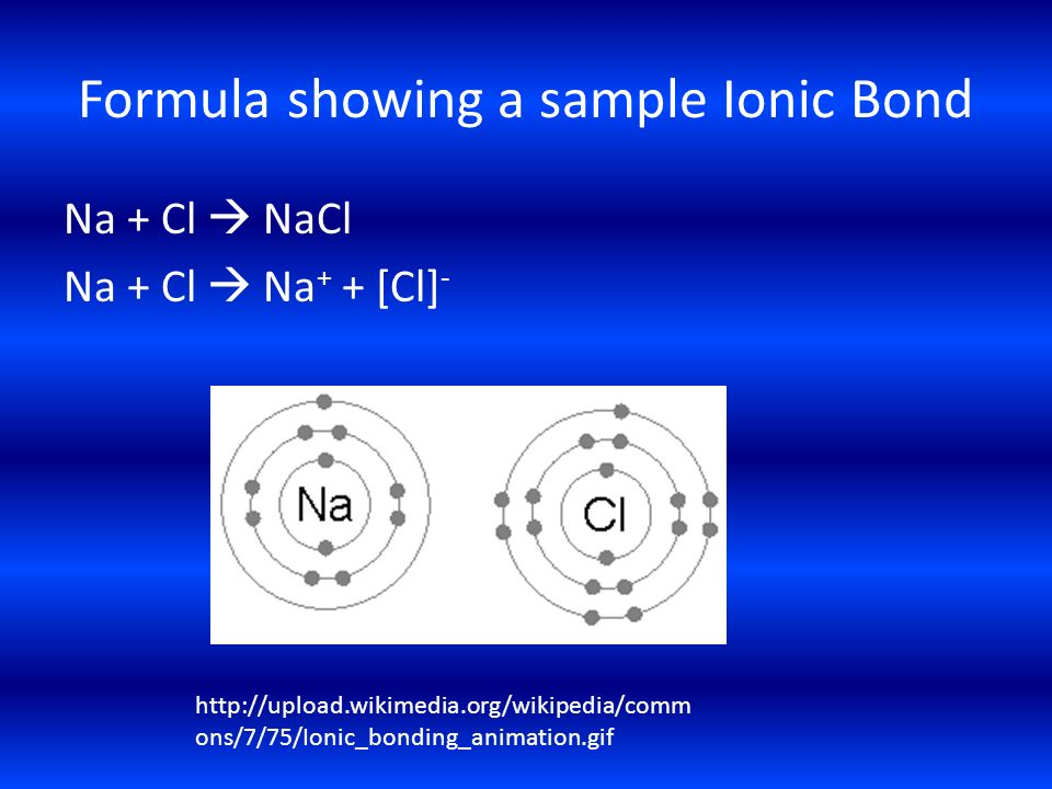 Formula showing a sample Ionic Bond