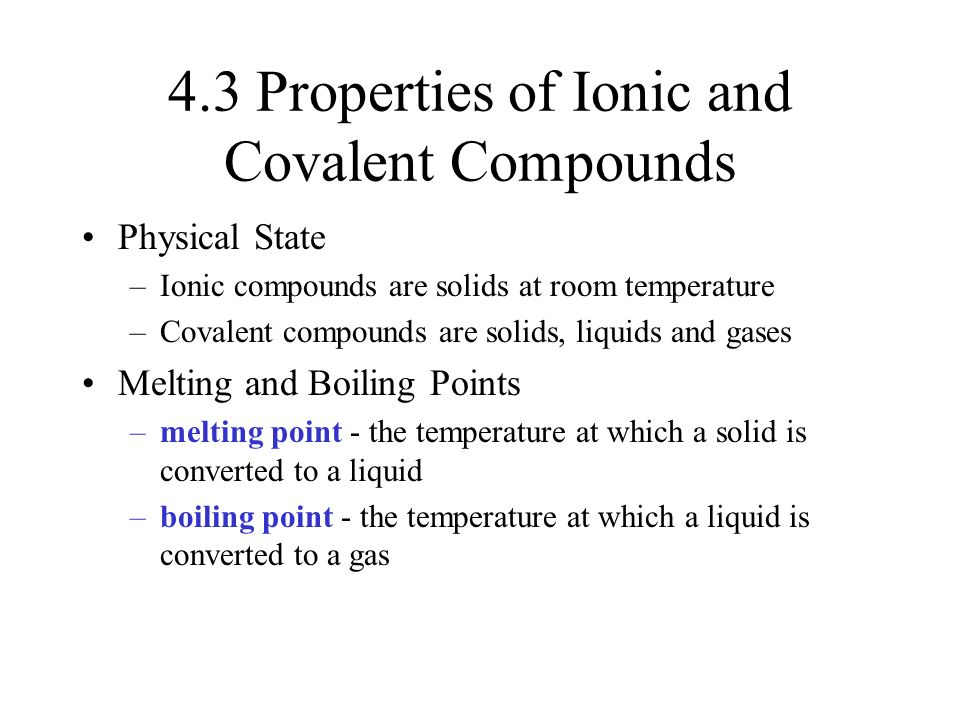 Covalent Compounds State At Room Temperature