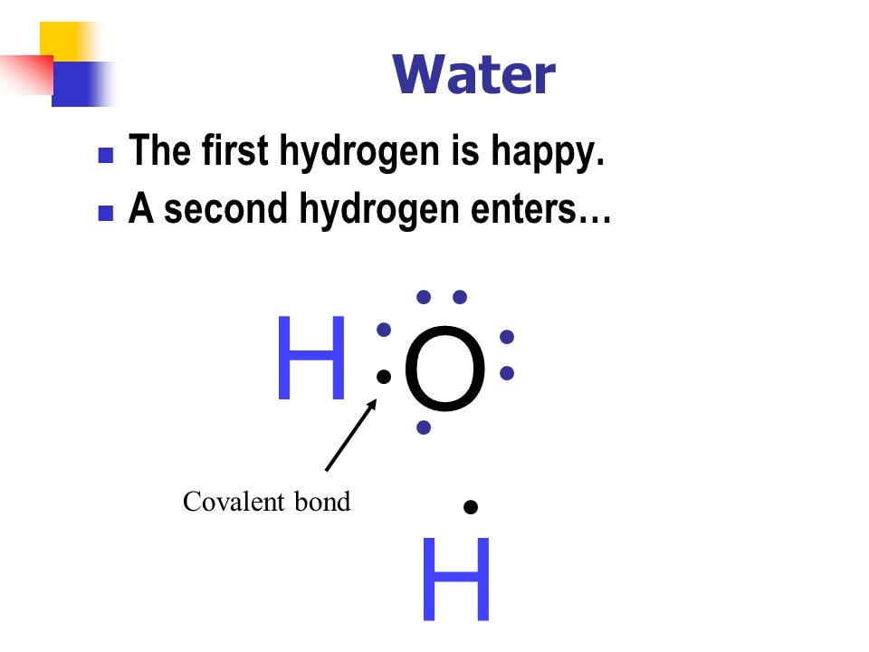 H O H Water The first hydrogen is happy. A second hydrogen enters…