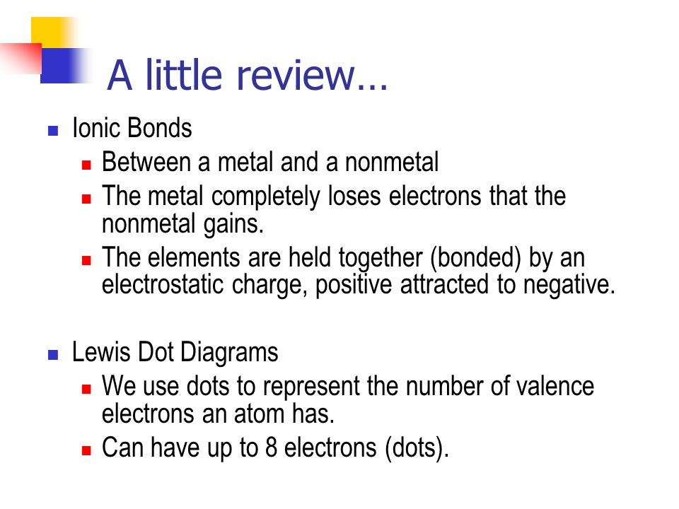 A little review… Ionic Bonds Between a metal and a nonmetal