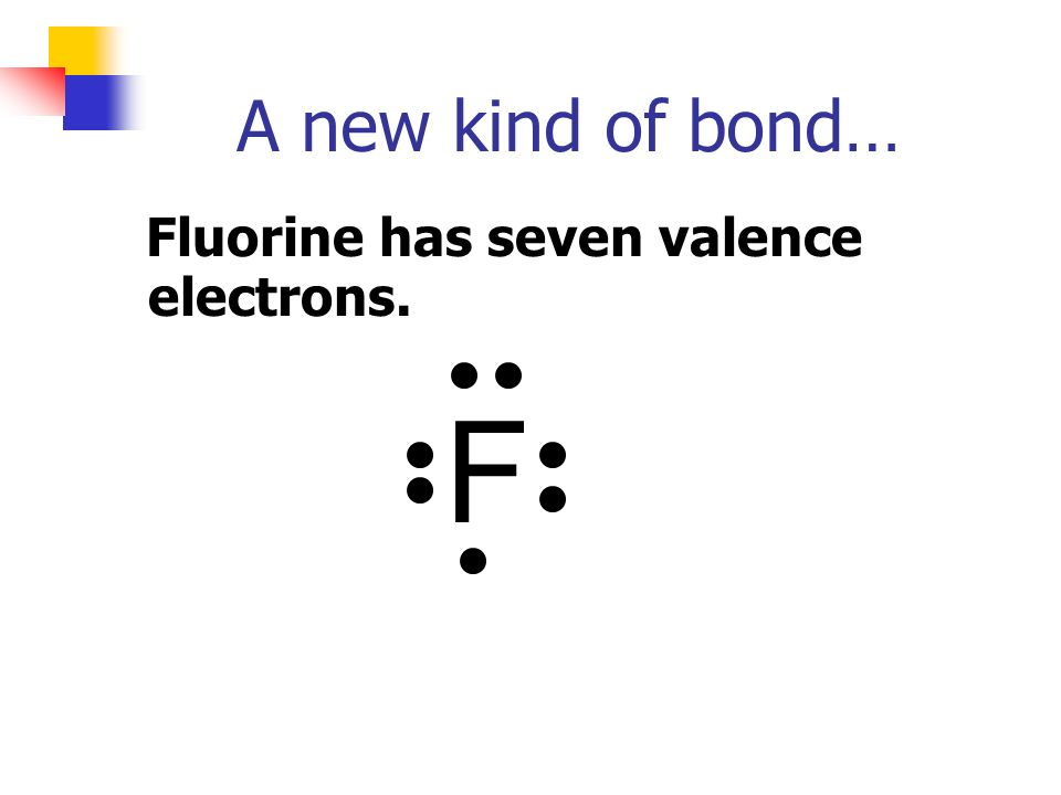 A new kind of bond… Fluorine has seven valence electrons. F