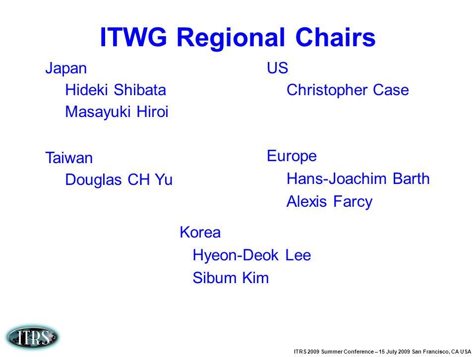 ITWG Regional Chairs Japan Hideki Shibata Masayuki Hiroi Taiwan