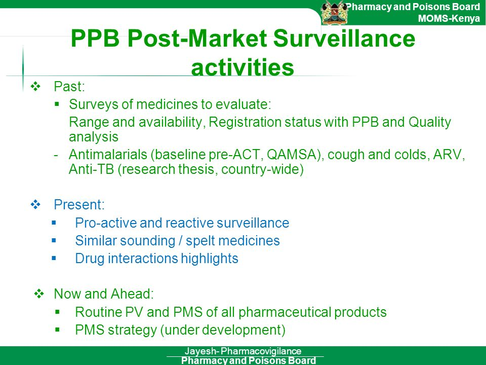 PPB Post-Market Surveillance activities