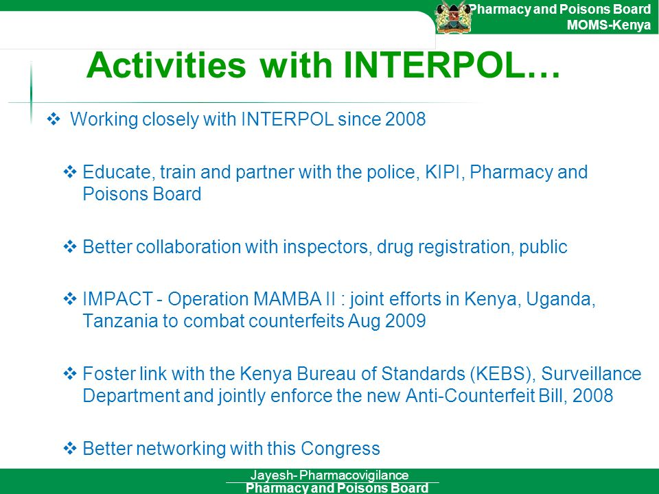 Activities with INTERPOL…