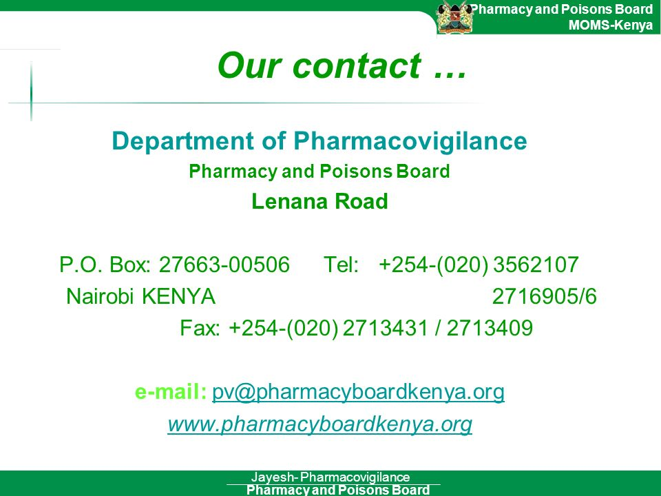 Department of Pharmacovigilance Pharmacy and Poisons Board