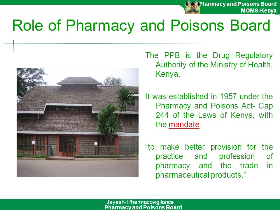 Role of Pharmacy and Poisons Board
