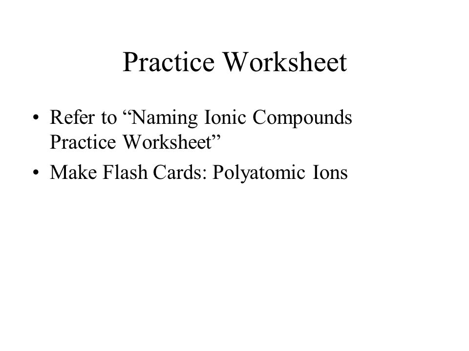 HONORS CHEMISTRY Oct 30 ppt download – Ionic and Covalent Compounds Worksheet