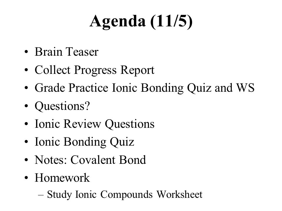 HONORS CHEMISTRY Oct 30 ppt download – Binary Ionic Compounds Worksheet