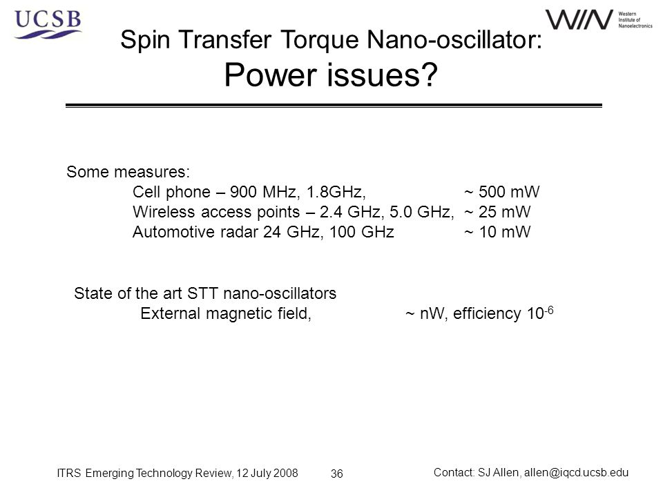 Spin Transfer Torque Nano-oscillator: Power issues