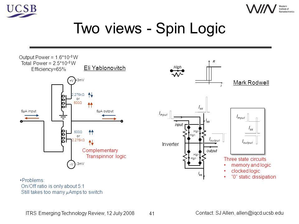 Two views - Spin Logic Eli Yablonovitch Mark Rodwell