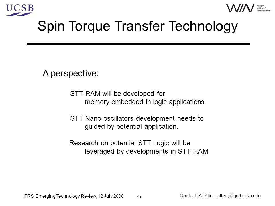 Spin Torque Transfer Technology