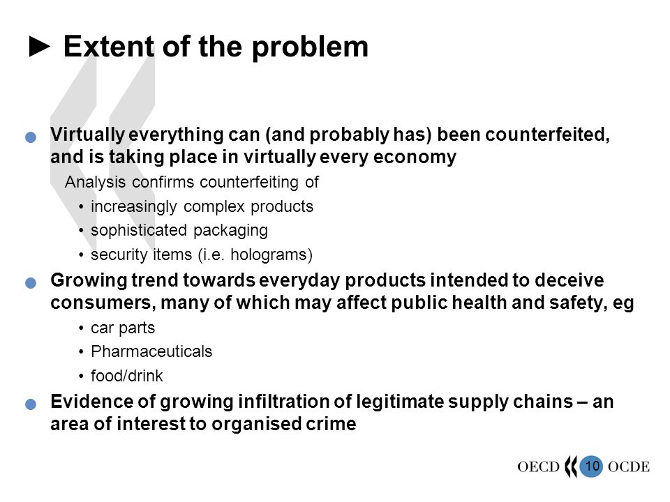 ► Extent of the problem Virtually everything can (and probably has) been counterfeited, and is taking place in virtually every economy.