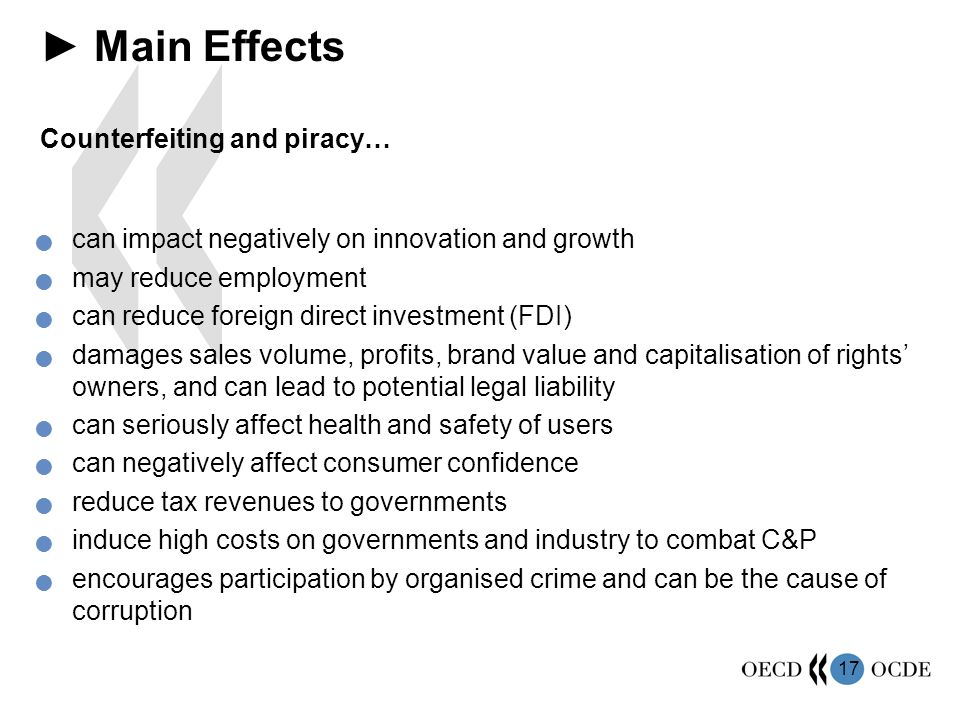 ► Main Effects Counterfeiting and piracy…