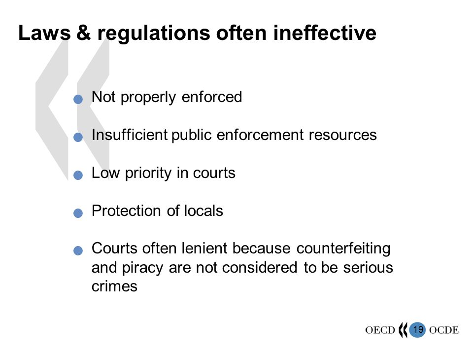 Laws & regulations often ineffective