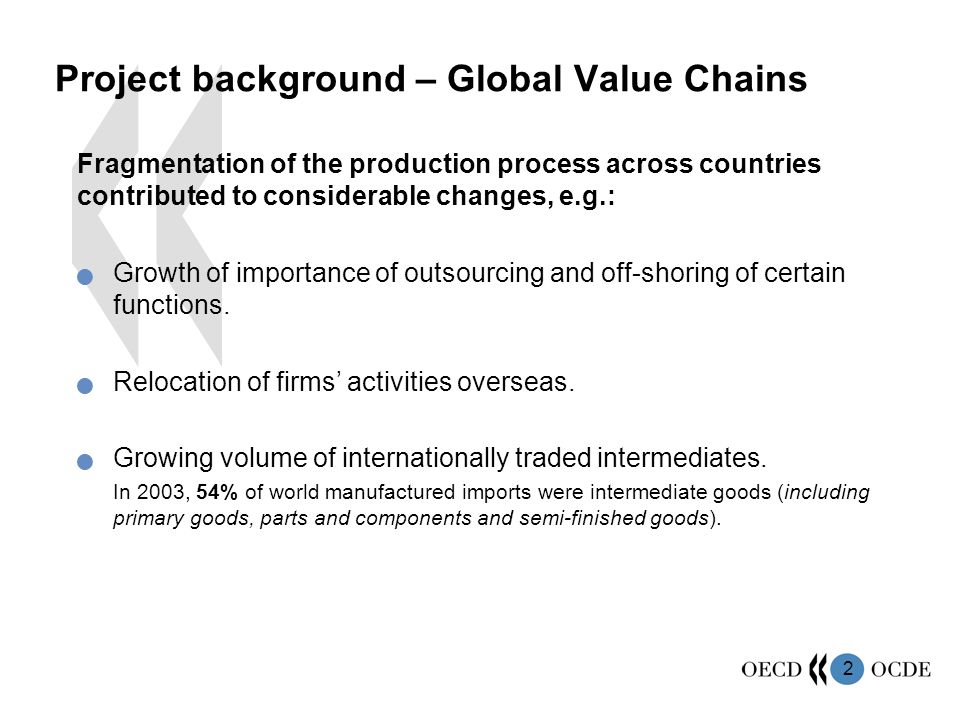Project background – Global Value Chains