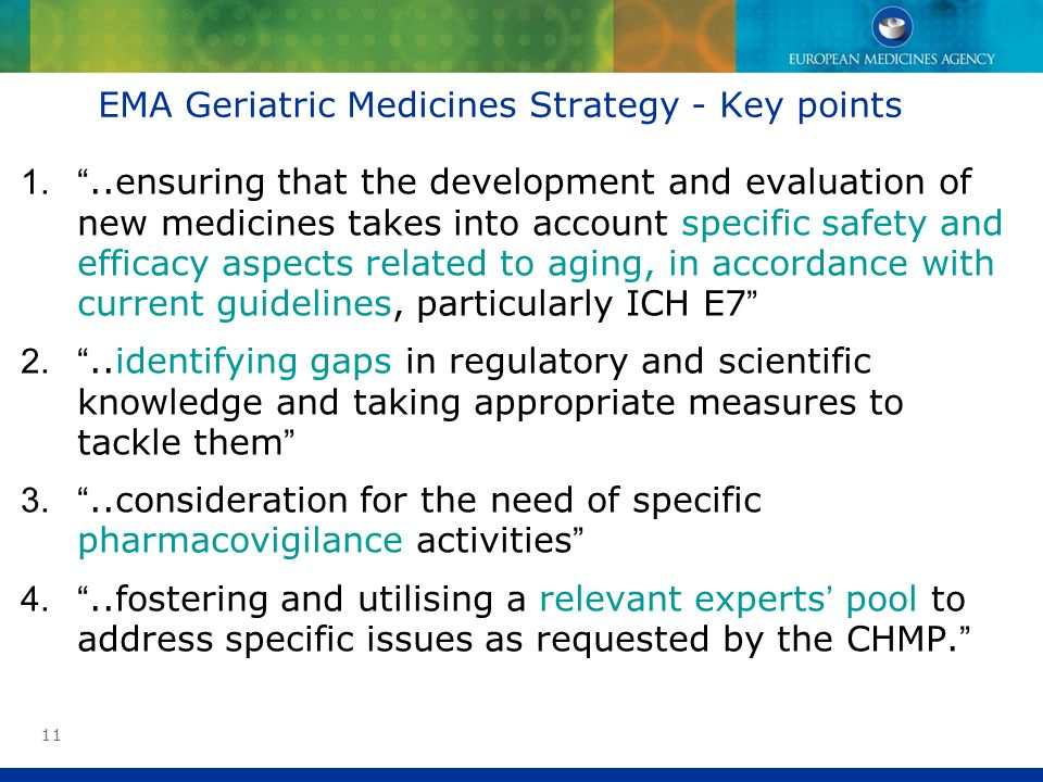 EMA Geriatric Medicines Strategy - Key points