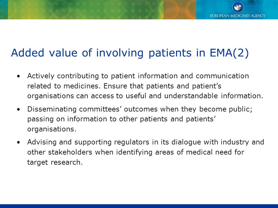 Added value of involving patients in EMA(2)