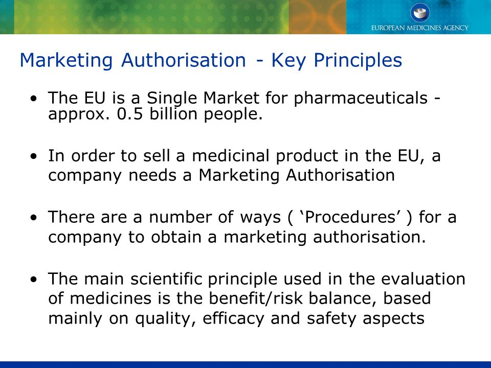 Marketing Authorisation - Key Principles