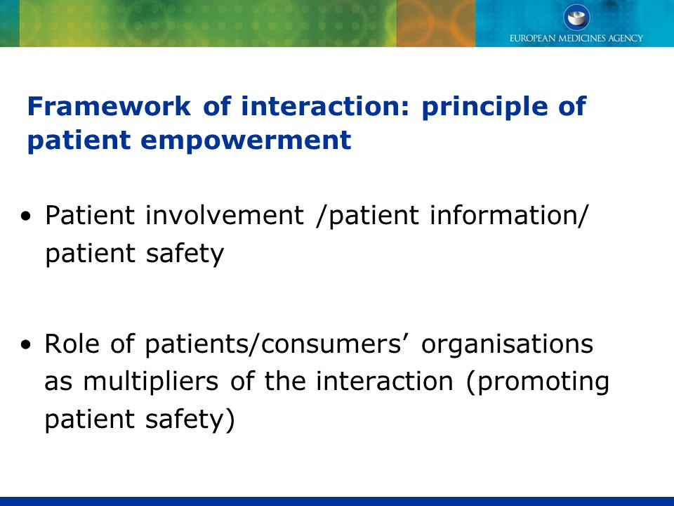 Framework of interaction: principle of patient empowerment
