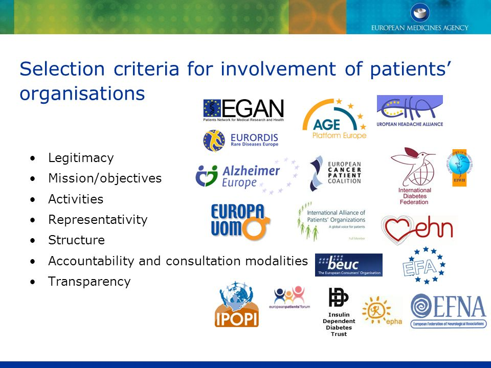 Selection criteria for involvement of patients' organisations