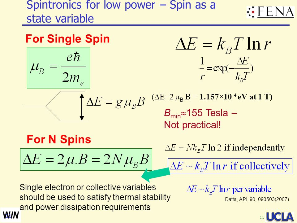 Spintronics for low power – Spin as a state variable