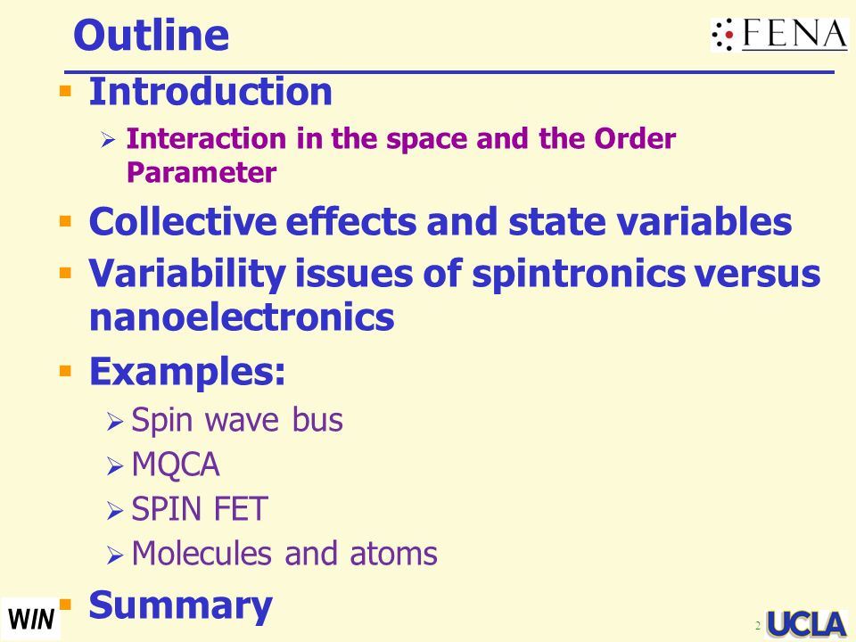 Outline Introduction Collective effects and state variables