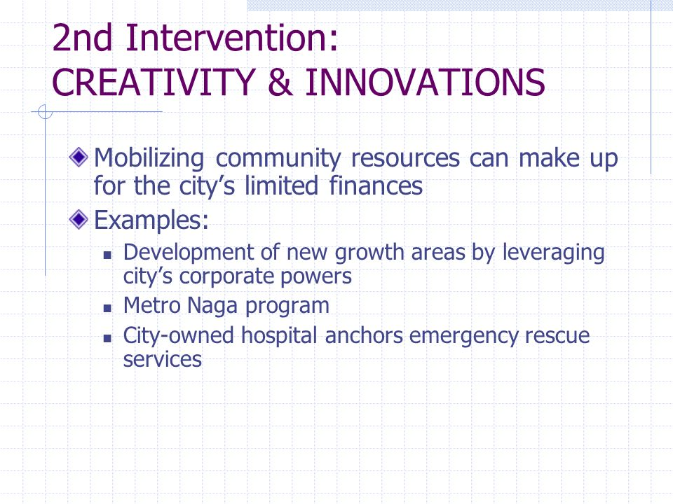 2nd Intervention: CREATIVITY & INNOVATIONS