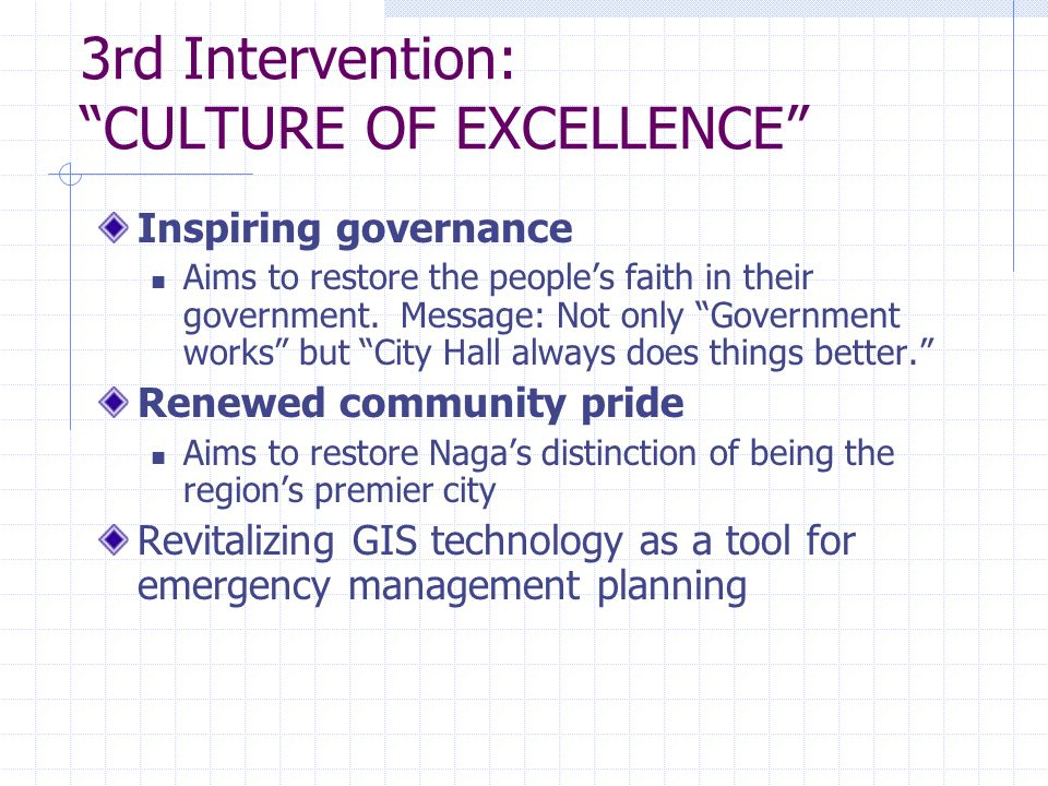 3rd Intervention: CULTURE OF EXCELLENCE