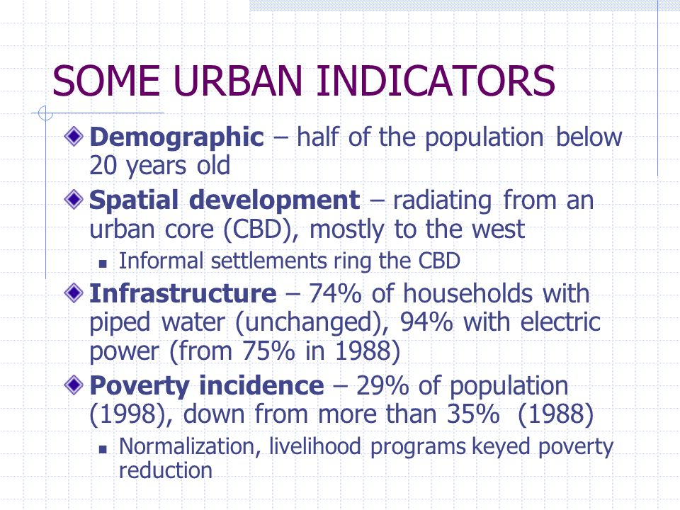SOME URBAN INDICATORSDemographic – half of the population below 20 years old.