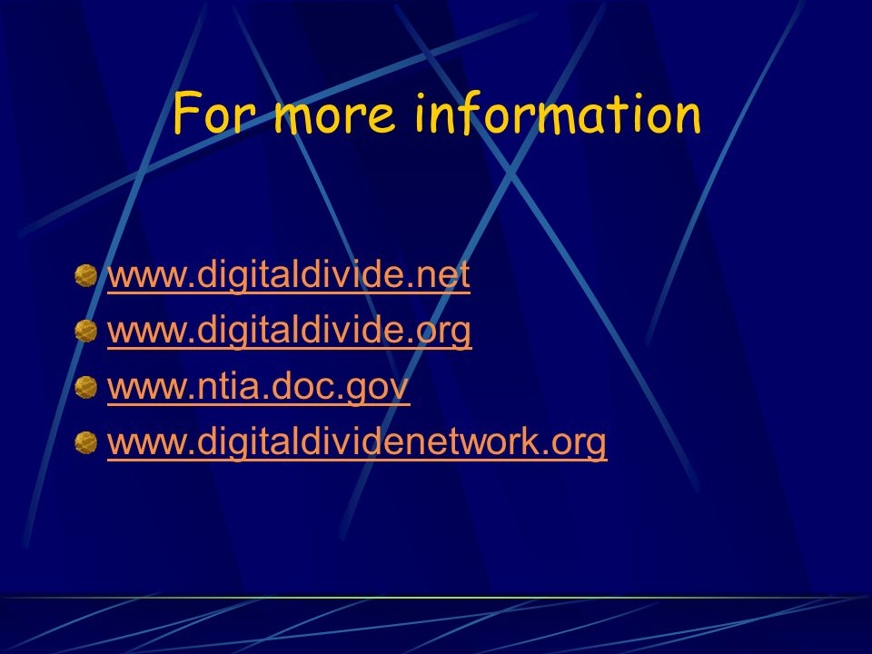 digital divide dissertation Recommended citation rojas, kristen, digital divide: the roles of access and self-efficacy on college readiness (2013) student theses, dissertations and projects.