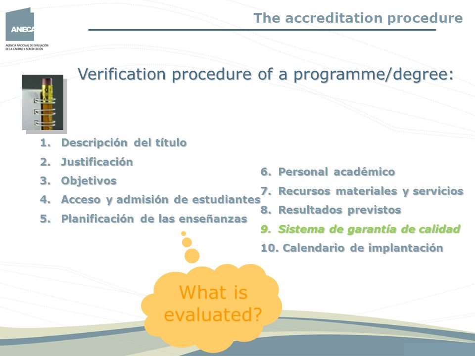 What is evaluated Verification procedure of a programme/degree: