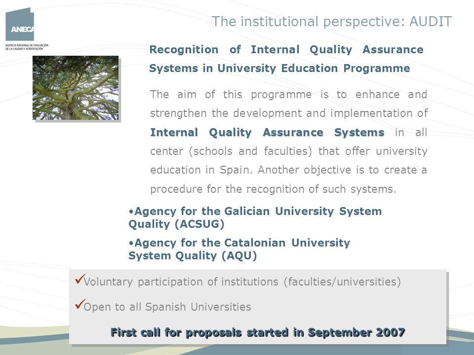 First call for proposals started in September 2007