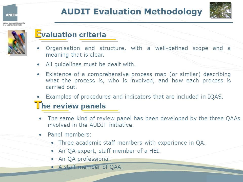 Evaluation criteria The review panels AUDIT Evaluation Methodology